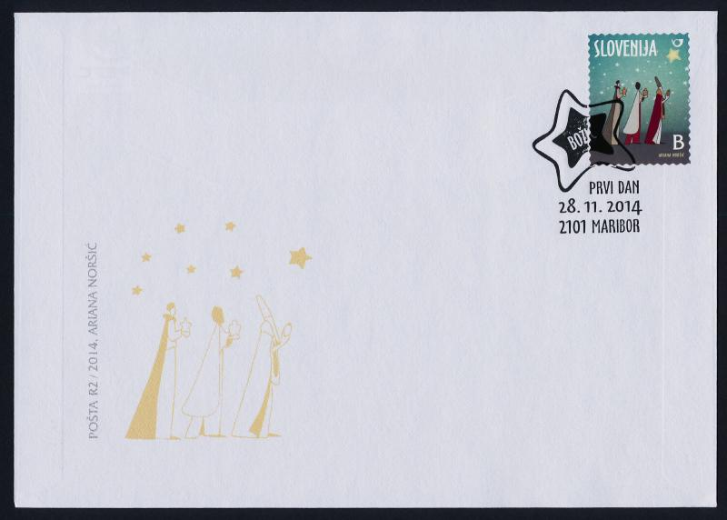 Slovenia B Stamp New issue on FDC - Three Kings, Christmas