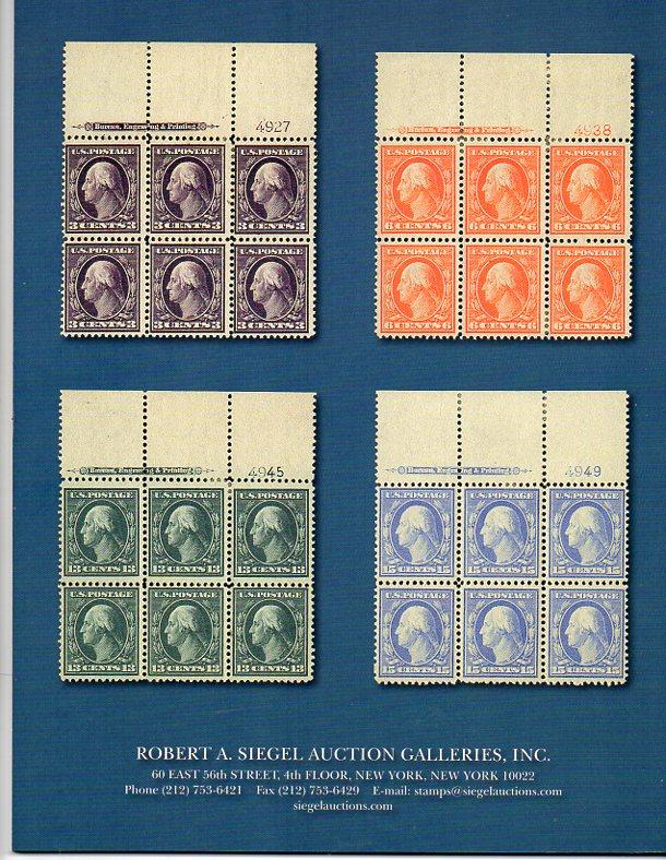 Siegel Auction Sale on US Blue Papers