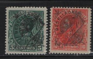VENEZUELA, 150-151 Hinged, 1900 Stamps of 1899 Overprinted