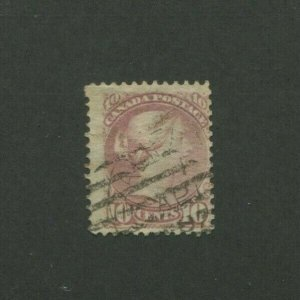 1877 Canada Postage Stamp #40 Used Grid Postal Cancel