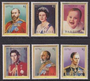 1984 Barbuda Royal Family complete set of six MNH Sc# 622 / 627 CV $4.50