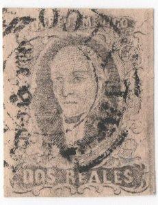 1861 MEXICO, HIDALGO, 2 REALES Black on Pink, MEXICO GOTHIC