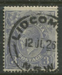Australia - Scott 30 - KGV Head -1924 - FU - Wmk- 9 -Type I - 3p Stamp