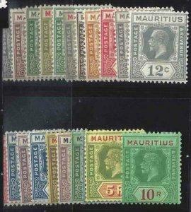 Mauritius 1922-1934 SC 179-199 MLH Set
