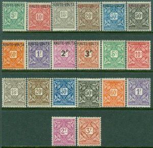 EDW1949SELL : BURKINA FASO 1920-28 Scot #J1-20 Complete VF, Mint OG. Catalog $62