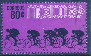 MEXICO 984, 80c Bicycling 3rd Pre-Olympic Set 1967 Used (648)