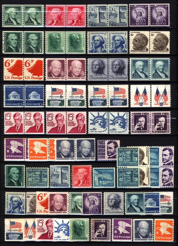 1054-1820 1c-$1.00 1954-1981 Coil Stamp Lot MNH 52 Items