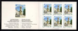 Latvia Sc 559a 2002 Church Helsinki stamp booklet mint NH