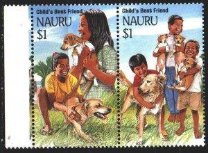 Nauru. 1994. 400-1. Children, dogs. MNH.