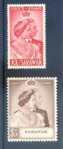 Sarawak 1948 Silver Wedding SG165/6 Mounted Mint