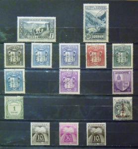 ANDORRA  MH-Used # 23, 46A, 65, 66, 69, 74-78, J9, J21, J22, J32, P1   CV$ 12.95