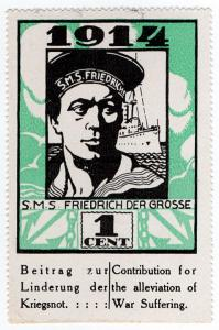 (I.B) US Cinderella : German War Charity 1c (1914) SMS Frederick The Great