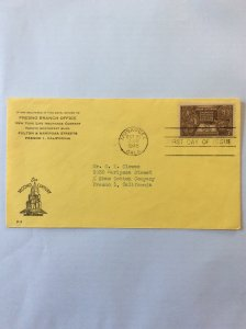 1948 Indian Centennial 3c First day cover. Muskogee OK post mark to Fresno.