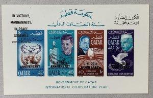 Qatar 1966 New Currency on JFK UN MS. Scott 118 footnote. Mi BL 12A CV €150.00