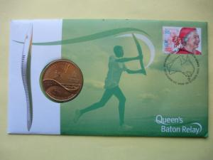 AU 2005 QUEENS BATTON RELAY COVER 28 OCTOBER 2005 WITH $5 UNCIRCULATED COIN