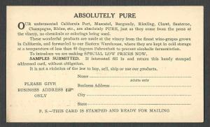 Ca 1926 PC PHILA PA CALIF VINE PROD CO MAKER OF WINES & CHAMPAGNE UNPOSTED