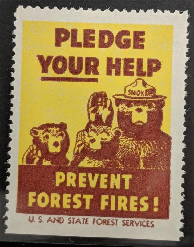 US Poster Stamp Forest Service Smokey the Bear Prevent Forest Fires