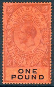 GIBRALTAR-1912-24 £1 Dull Purple & Black/Red lightly mounted mint example Sg 85
