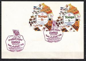 Tonga, Scott cat. 454-455 only. Self Adhesive values on a First day cover. ^