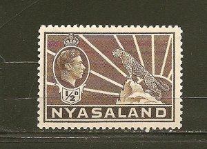 Nyasaland Protectorate 54A King George VI & Leopard Mint Hinged