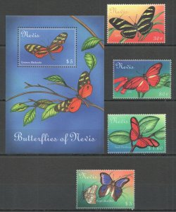 U1109 NEVIS BUTTERFLIES OF NEVIS FLORA & FAUNA SET+BL MNH