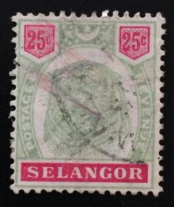 Malaya 1896 Selangor Tiger 25c Used SG#58 CV £65  M2193