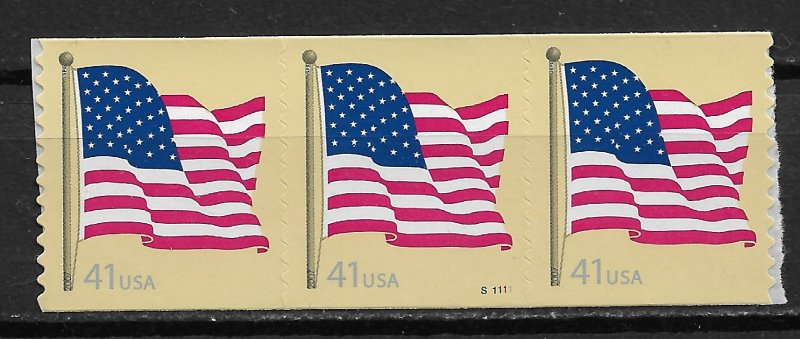 2007 USA 4187 Flag PNC strip of 3 MNH