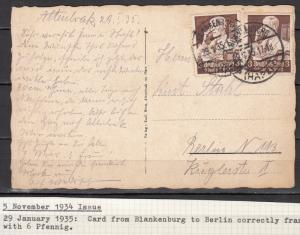 Germany - 29.1.1935 3pf Professions as MeF on card Blankenburg - Berlin (5050)