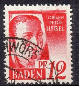 Germany Baden 1948 Early Issue Fine Used 12pf. NW-05460