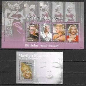 Ghana 2566-67 Marilyn Monroe m/s and s.s. MNH