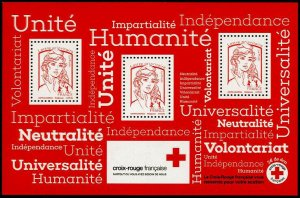 HERRICKSTAMP NEW ISSUES FRANCE Sc.# B775a Red Cross 2017 S.P. S/S