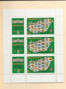 Hungary, 2757, AGROFILA 1982 Stamp Expo Sheet(3)w/Labels,MNH
