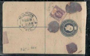 MALAYA STRAITS SETTLEMENTS COVER (P0307B) 1921 KGV 10C RLE+30C REG,INSURED TO IN