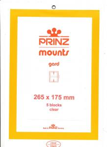 Prinz Scott Stamp Mount 175/265 CLEAR Background Pack of 5