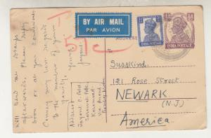 INDIA, POSTAL CARD, 1949 KGVI 1/2a., 3 1/2a. added, Airmail to USA, Taxed 57c.
