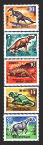 Mongolia. 1967. 460-64 from the series. Dinosaurs. MNH.