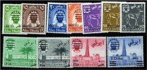 HERRICKSTAMP ABU DHABI Sc.# 15-25 1966 Surcharges Mint NH