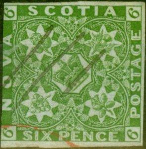 Nova Scotia 1851 6d Yellow-Green SG5 Good Used Contempory Pen & Crayon Cancel...