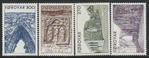 1988 Faroe Islands - Sc 182-5 - MNH VF - 4 single - Kirkjubour Cathedral