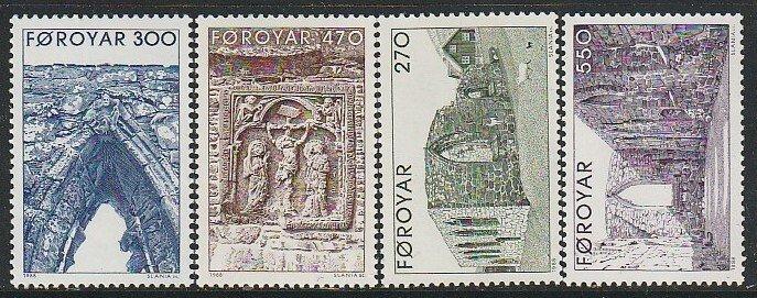 1988 Faroe Islands - Sc 182-5 - MNH VF - 4 single - Kirkjubour Cathedral