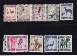 SW Africa Scott # 249 - 260 VF OG lightly hinged nice color cv $ 83 ! see pic !