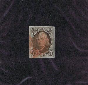 SC# 1a USED 5 CENT FRANKLIN, 1847, RED GRID CANCEL, 2019 PSAG CERT