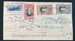 1939 Niuafoou Tonga Toga Islands Tin Can Mail Cover To Milwaukee WI USA Jubilee