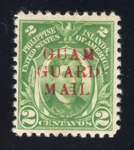 Guam# M7 2 Cents, Green - Guam Guard Mail - Mint - Original Gum - Hinged