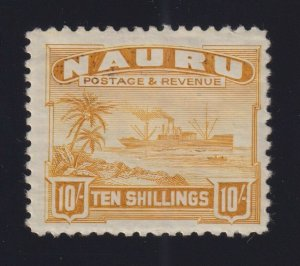 Nauru Sc #30a (1937-48) 10/- yellow Freighter Glazed White Paper Mint H