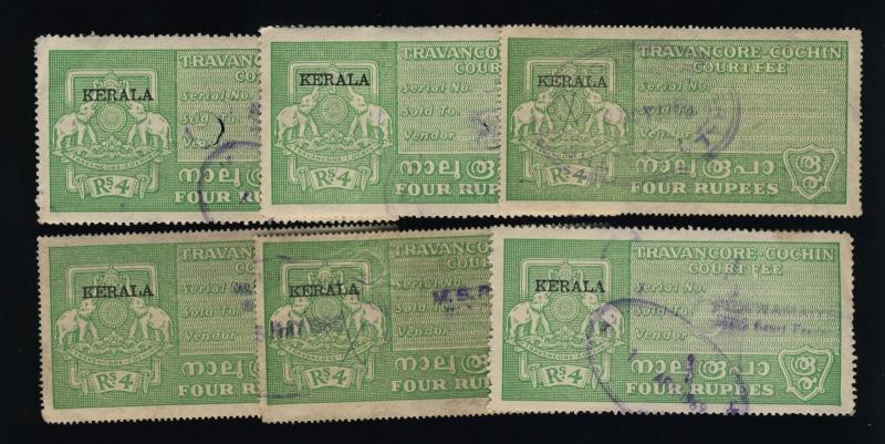 INDIA - TRAVANCORE-COCHIN Revenue Stamp +KERALA O/P Rs.4 Green x6 used examples