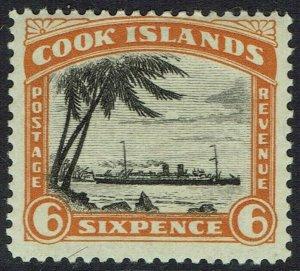 COOK ISLANDS 1932 SHIP 6D NO WMK PERF 13