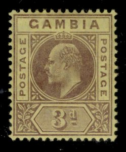 GAMBIA EDVII SG75, 3d purple/yellow, M MINT.