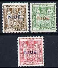 Niue 1941 Postal Fiscals 2s6d, 5s & 10s lightly mount...