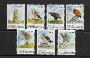 BIRDS - UZBEKISTAN #189-95  MNH
